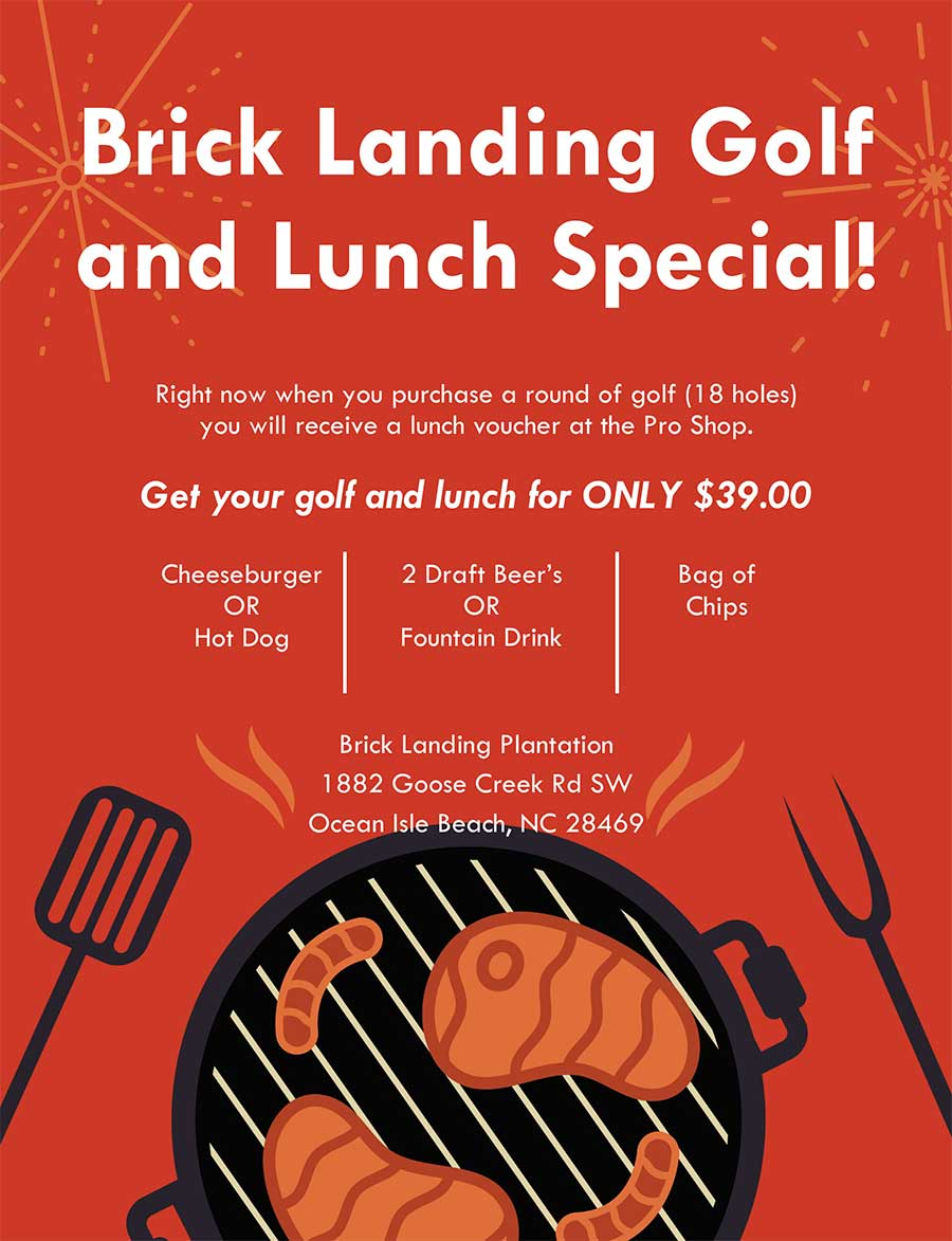 Golf-and-Lunch-Special at Brick Landing Golf Plantation Ocean Isle Beach  NC